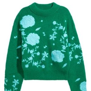 H&M Green Blue Floral Embroidered Mohair Sweater